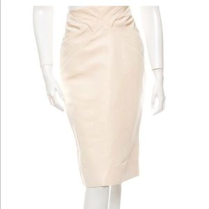 Zac Posen Nude Silk Skirt